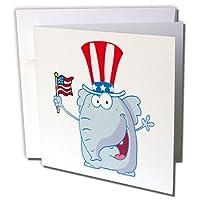 Dooni Designs MoreランダムCartoon Designs–愛国Cute Elephant Cartoon Republican–グリーティングカード Set of 12 Greeting Cards