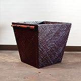 アジアン・バリ雑貨・バリウッド・baliwood:パンダンで編込まれた角形便利ボックス!ダークブラウンじゃい。