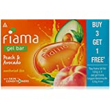 Fiama BUY Gel Bathing Bar, Peach and Avocado, 125g*3+GET 1 Fiama frangipani moisturising bar 125g free (Buy 3...