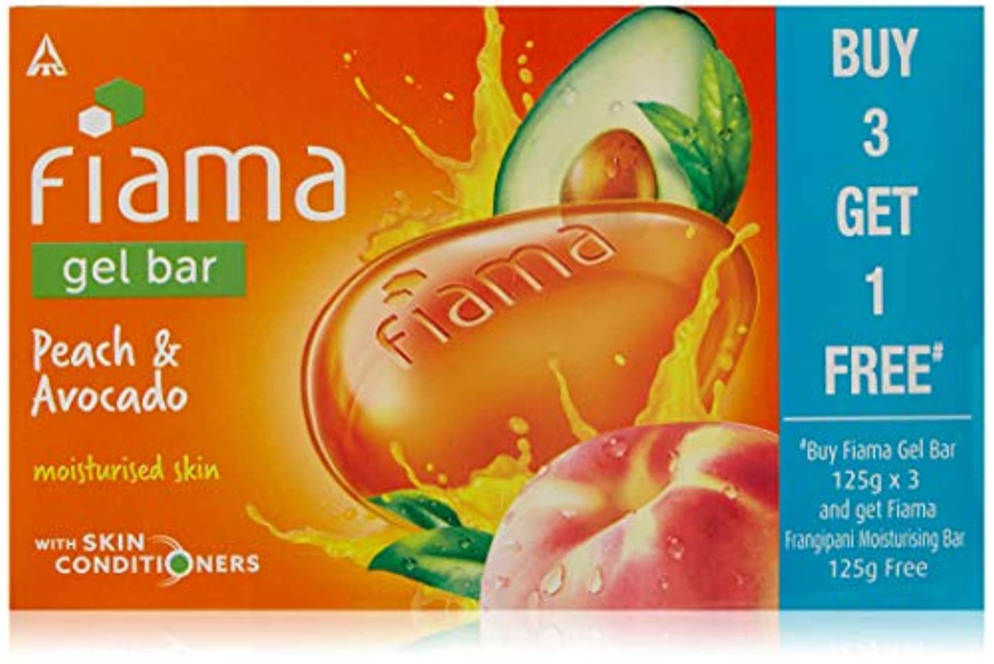 Fiama BUY Gel Bathing Bar, Peach and Avocado, 125g*3+GET 1 Fiama frangipani moisturising bar 125g free (Buy 3...