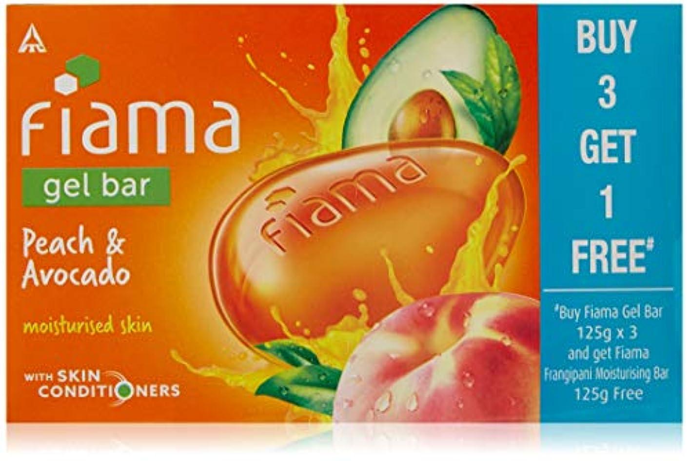 高さ愛強化Fiama BUY Gel Bathing Bar, Peach and Avocado, 125g*3+GET 1 Fiama frangipani moisturising bar 125g free (Buy 3...