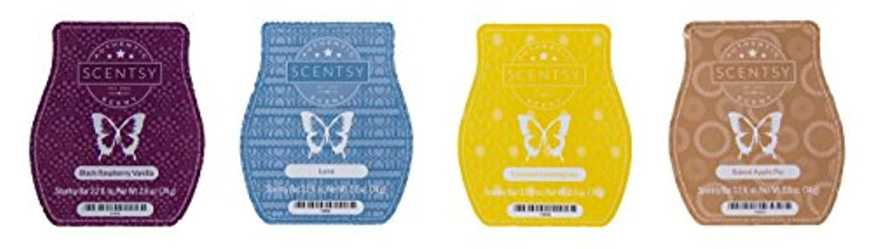 多様なツーリスト休暇Scentsy Bar 4-Pack (Black Raspberry Vanilla, Baked Apple Pie, Luna, Coconut Lemongrass)