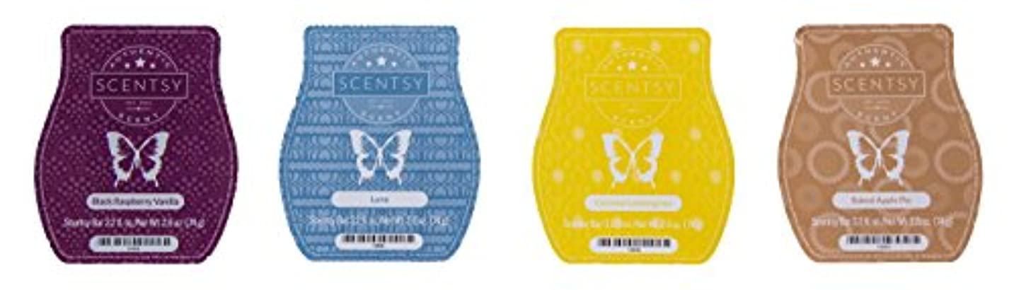 スイマイクロ発動機Scentsy Bar 4-Pack (Black Raspberry Vanilla, Baked Apple Pie, Luna, Coconut Lemongrass)