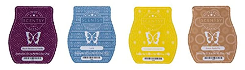 Scentsy Bar 4-Pack (Black Raspberry Vanilla, Baked Apple Pie, Luna, Coconut Lemongrass)