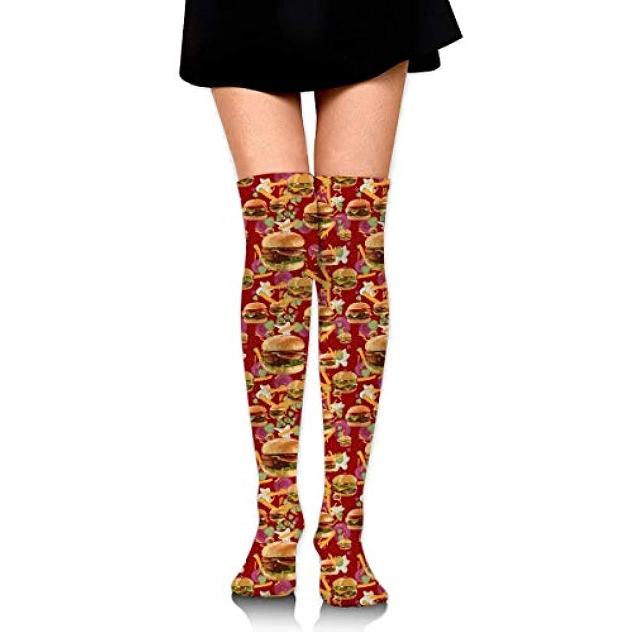 ストローク依存隣接MKLOS 通気性 圧縮ソックス Breathable Extra Long Cotton Mid Thigh High Red Hamburgers French Fries Exotic Psychedelic Print...