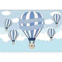 GooEoo 8×6.5フィート洗礼赤ちゃん洗礼テーマビニール写真背景漫画青い縞模様の火風船雲イラスト背景子供赤ちゃん男の子撃つ最初の聖体拝領バナー