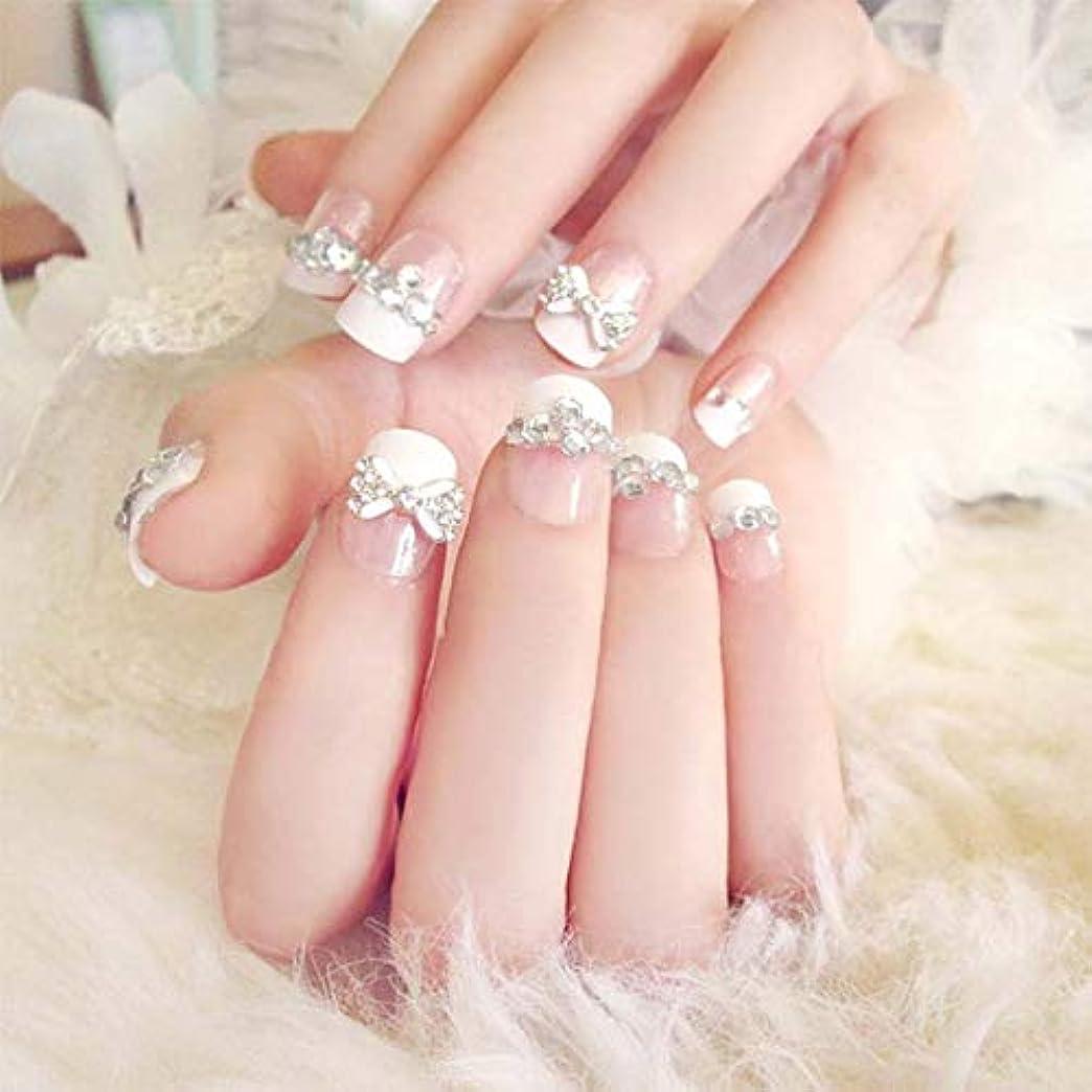 成功する無視失うXUTXZKA 24個/セット偽の爪の結婚式の花嫁フルネイルのヒントミドルロング偽ネイル