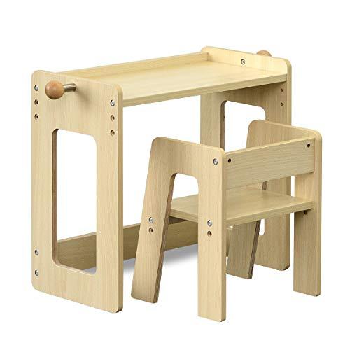 RiZKiZ 子供デスクセット【ナチュラル】 木製学習机 チェア付き 高さ調整 安心安全設計 子供部屋 インテリア 組立式 おしゃれ 対象年齢 1歳6ヶ月~6歳