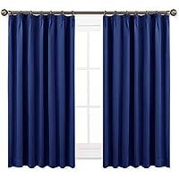 NICETOWN 遮光カーテン 2枚セット ローヤルブルー リビングルーム UVカット 目隠し 幅100cm丈110cm