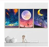 Zhaoyangeng 抽象月日没少女少年北欧ポスターと版画壁アートキャンバス絵画漫画壁写真子供-40×50センチ×3ピースフレームなし