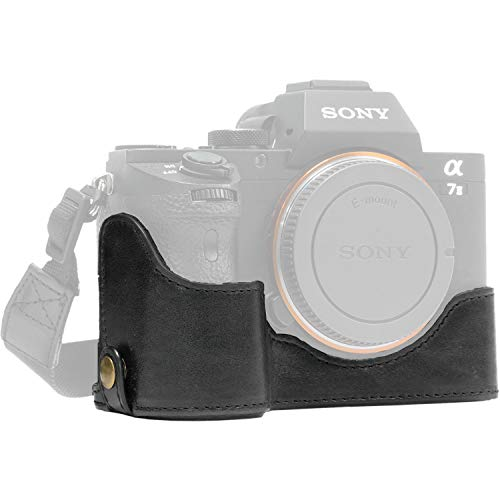MegaGear Ever Ready Leather Half Case and Strap for Sony a7S II, a7R II & a7 II (Black) [並行輸入品]