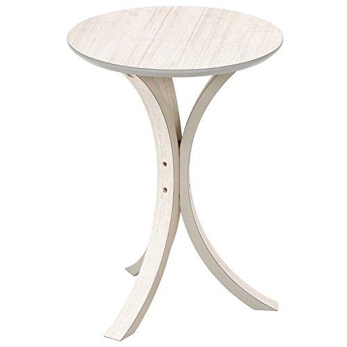 不二貿易 サイドテーブル 直径40×高さ54cm 木目調 ホワイト 13249