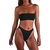 Pink Queen Women's Push up Padded Wrinkle High Cut Thong Swimsuit Bikini Set