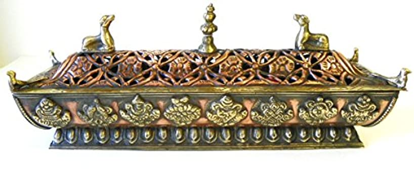 ハーブ父方の召喚するf705 StunningチベットPagodaスタイルIncense Burner Hand Crafted inネパール