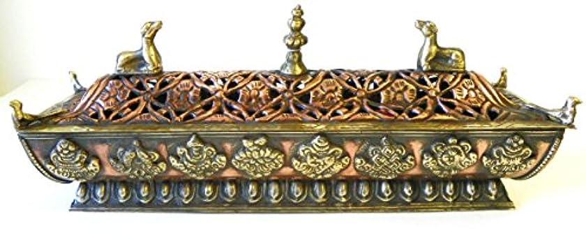 古い調べる水を飲むf705 StunningチベットPagodaスタイルIncense Burner Hand Crafted inネパール