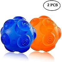 おもちゃSqueaky犬インタラクティブボール – Unicool耐久性ソフト非毒性ゴムSqueeze Bounceyボールの積極的なChewers、キックと大きな犬のフェッチボールMedium [水に浮く、3インチ/3.5inch ] ブルー Unicool-1