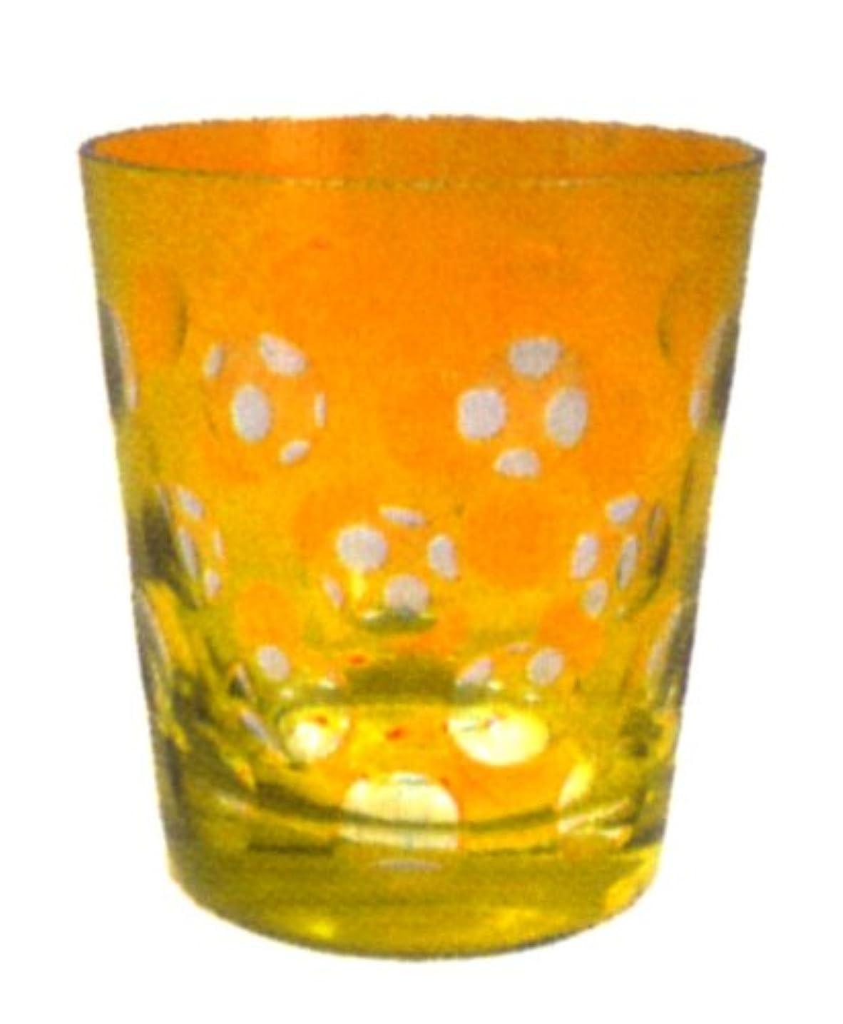 丸切子キャンドルホルダー 黄色