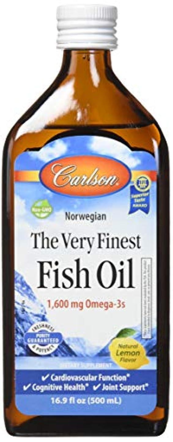 閃光厚くする。Carlson Labs - 最も良いノルウェーの魚オイル液体Omega-3レモン味 1600 mg。16.9ポンド