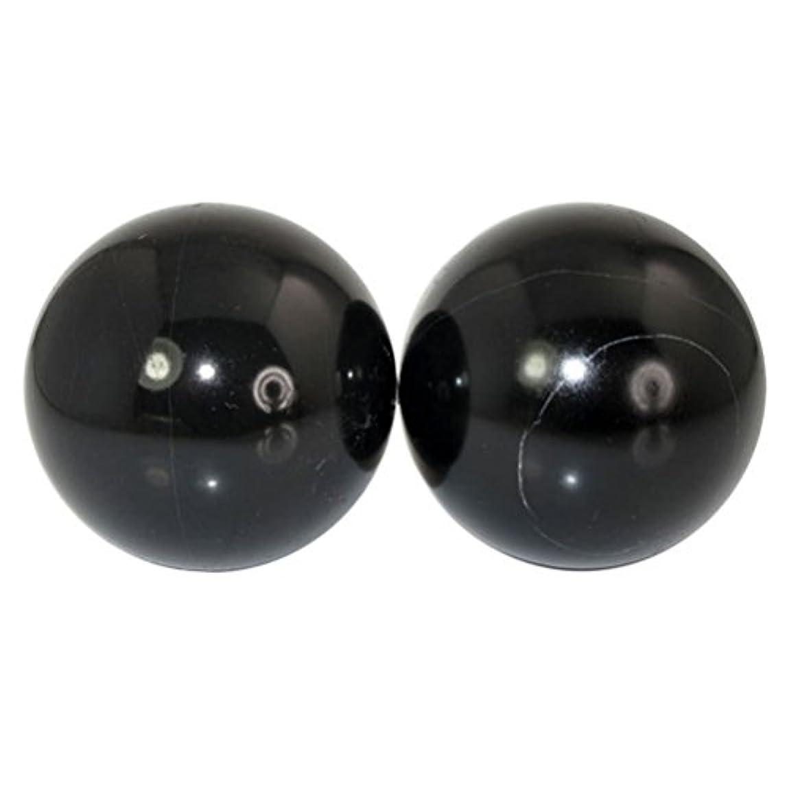 常識ホールド農民ROSENICE 2本の天然石マッサージボール瞑想フィットネスハンドエクササイズヒーリングボール(手治療用)ストレスレリーフ(黒)