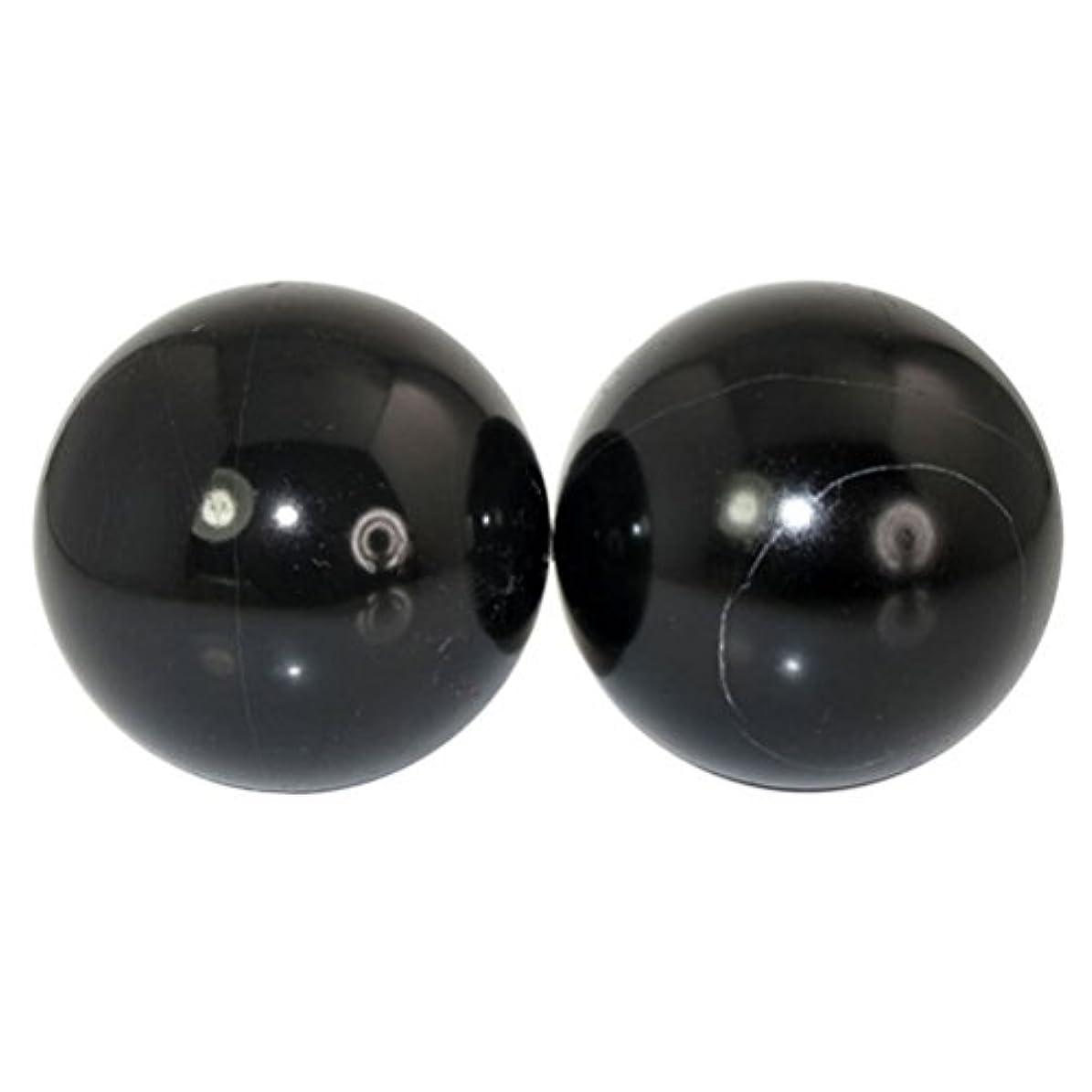 シェトランド諸島状況充電ROSENICE 2本の天然石マッサージボール瞑想フィットネスハンドエクササイズヒーリングボール(手治療用)ストレスレリーフ(黒)
