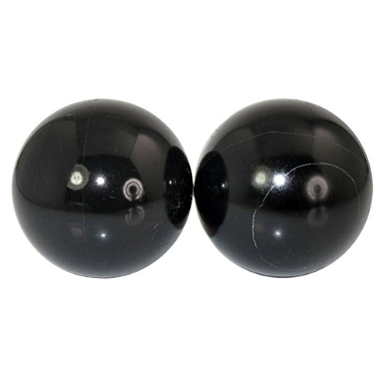 ROSENICE 2本の天然石マッサージボール瞑想フィットネスハンドエクササイズヒーリングボール(手治療用)ストレスレリーフ(黒)