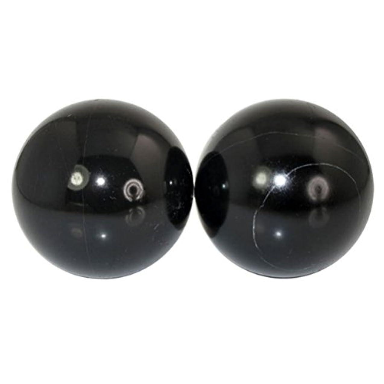 ルネッサンスルーフ誘導ROSENICE 2本の天然石マッサージボール瞑想フィットネスハンドエクササイズヒーリングボール(手治療用)ストレスレリーフ(黒)