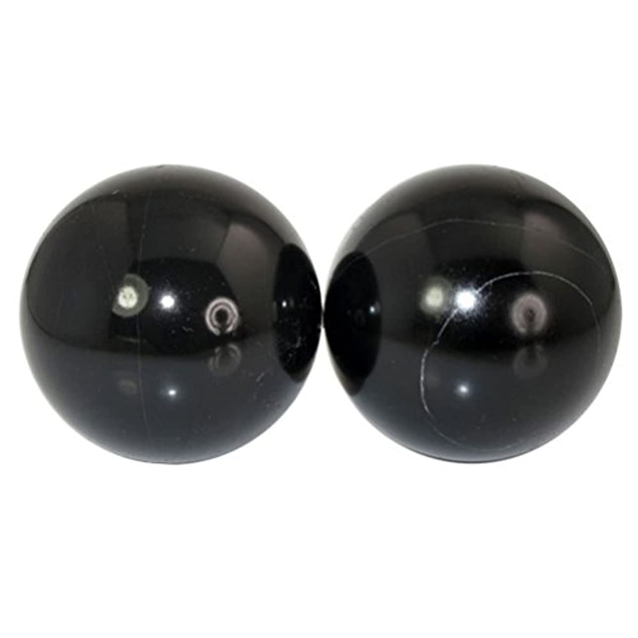 真空人工的なホステスROSENICE 2本の天然石マッサージボール瞑想フィットネスハンドエクササイズヒーリングボール(手治療用)ストレスレリーフ(黒)