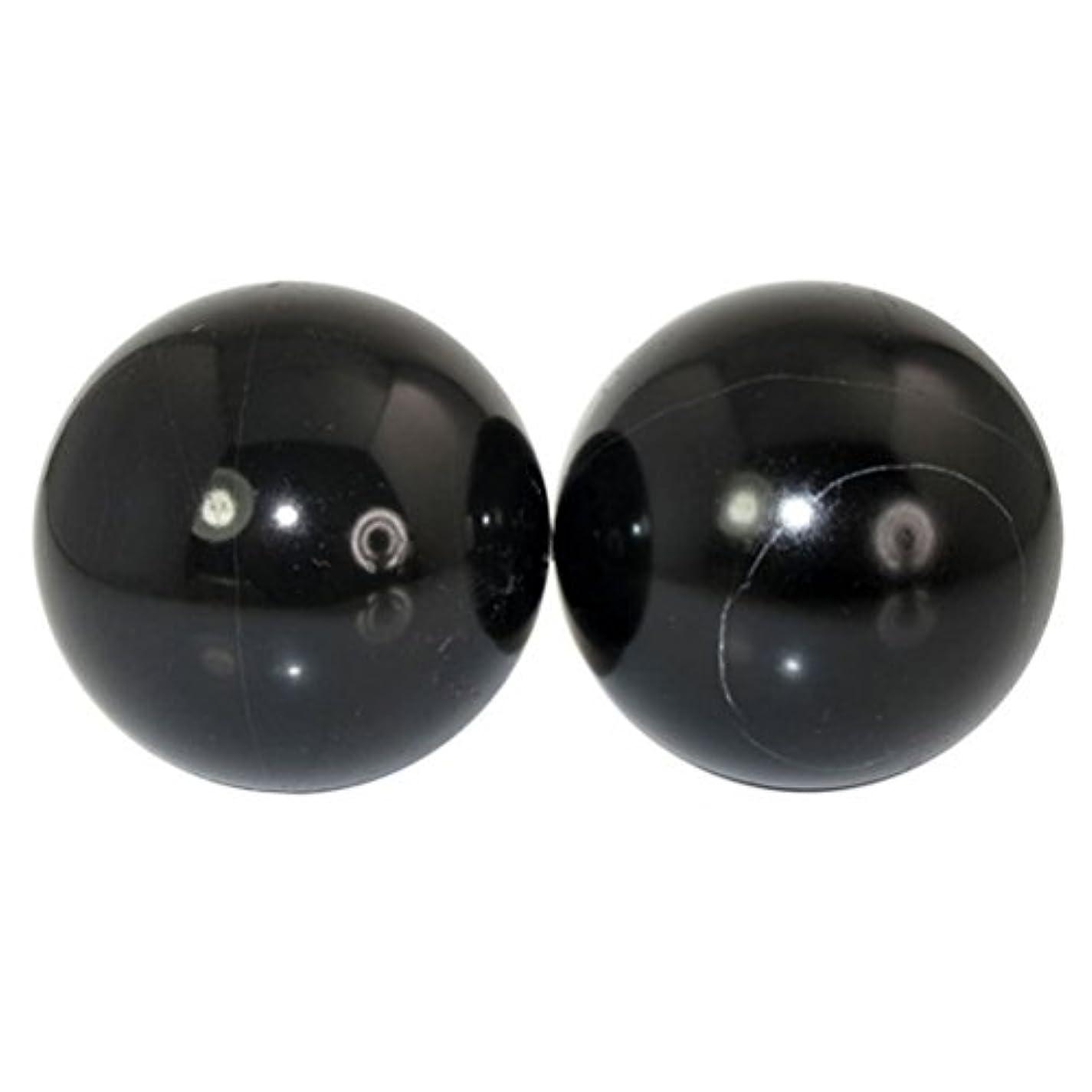 圧倒する賃金解明ROSENICE 2本の天然石マッサージボール瞑想フィットネスハンドエクササイズヒーリングボール(手治療用)ストレスレリーフ(黒)