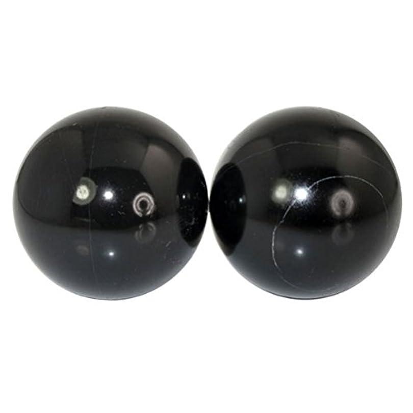 ぎこちないネックレス楽しむROSENICE 2本の天然石マッサージボール瞑想フィットネスハンドエクササイズヒーリングボール(手治療用)ストレスレリーフ(黒)