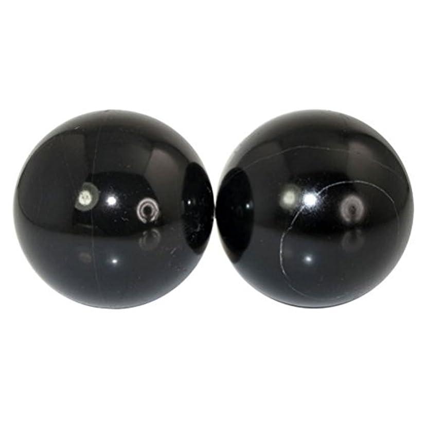 限りなくブーム観光に行くROSENICE 2本の天然石マッサージボール瞑想フィットネスハンドエクササイズヒーリングボール(手治療用)ストレスレリーフ(黒)