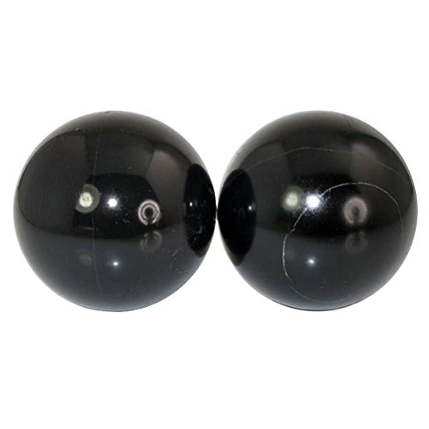 分散アミューズガードROSENICE 2本の天然石マッサージボール瞑想フィットネスハンドエクササイズヒーリングボール(手治療用)ストレスレリーフ(黒)
