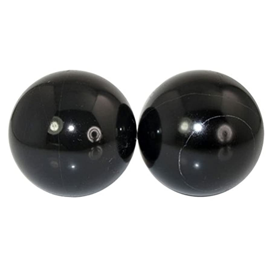 バッグコメントうんROSENICE 2本の天然石マッサージボール瞑想フィットネスハンドエクササイズヒーリングボール(手治療用)ストレスレリーフ(黒)