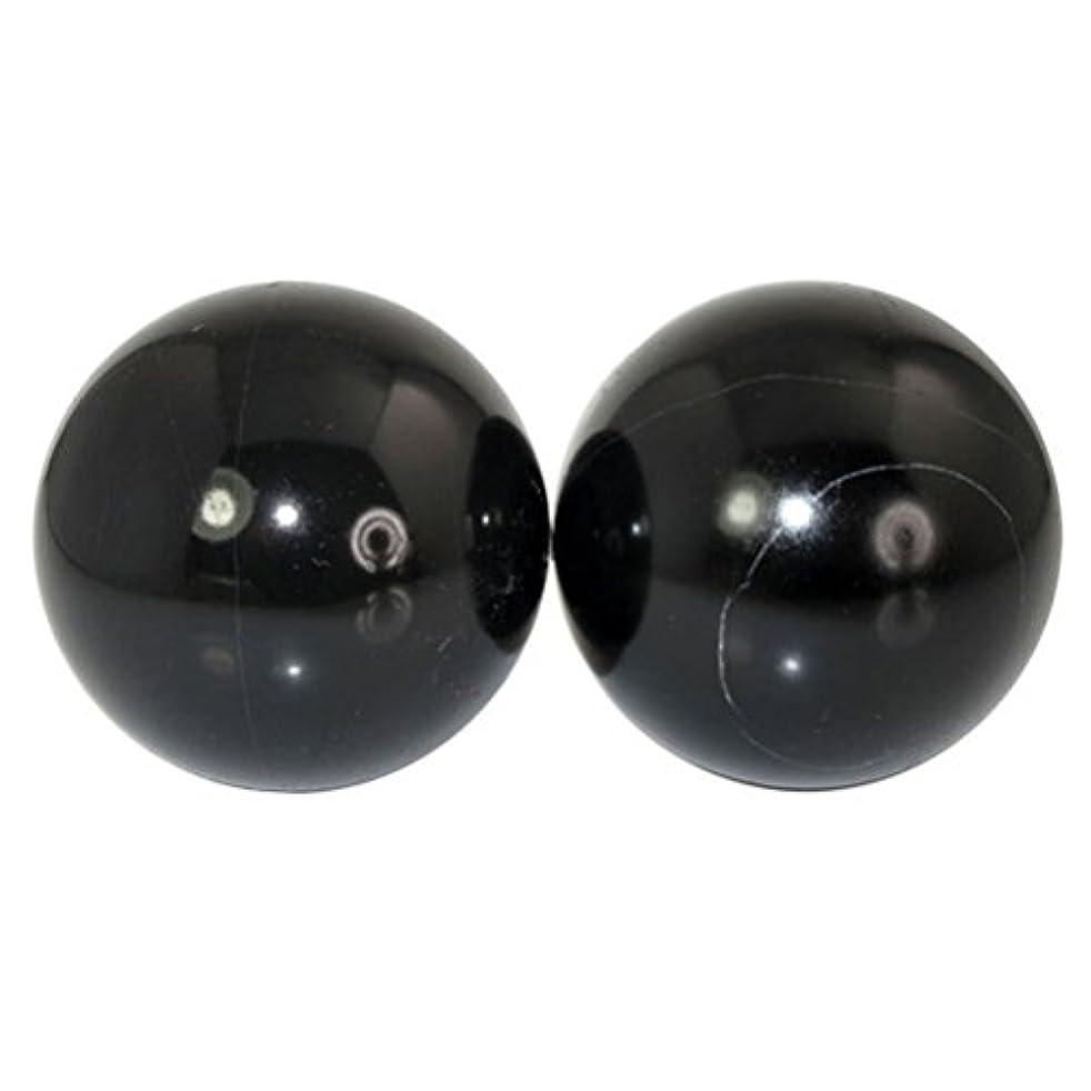 下位フレームワークアジア人ROSENICE 2本の天然石マッサージボール瞑想フィットネスハンドエクササイズヒーリングボール(手治療用)ストレスレリーフ(黒)