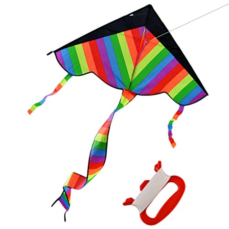 haoun Kids Children HugeレインボーDelta Kite with Long Tail Forアウトドアビーチの草原親子ゲームアクティビティおもちゃ L UUQ4154628G9S6S389