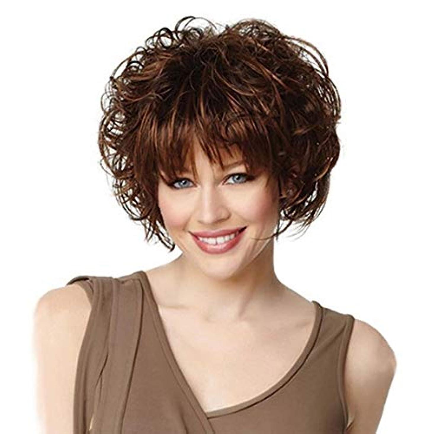 拷問背の高いアルバムYOUQIU ファッション、ボブスタイルの合成かつらチャーミングな女性のかつらをフルキャップウィッグショートカーリー茶ウィッグ (色 : ブラウン)