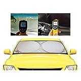 Kinder Fluff 車用サンシェード - 3サイズ 頼れる紫外線/日差しカット機能 車内温度対策も 高密度素材210T 2重構造 かんたん取り付け/取り外し ドアポケットに 折り畳み式(大 160 x 88 cm)