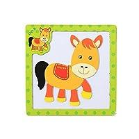 木製withマグネットジグソーパズル子供のゲームおもちゃ、馬