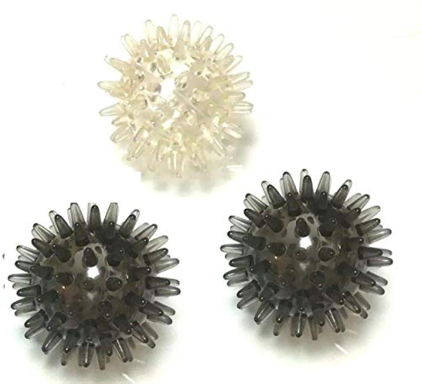 強制的主張見分けるトゲトゲ イガイガボール 硬め 3個 セット リハビリ , つぼ押し, マッサージ に 直径約8cm とげとげ ぼつぼつ BE&PK&YL