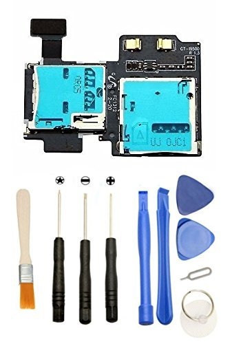 GamesTech Sim Card + Micro SD Tray Holder Slot Flex Cable with Tools for Samsung Galaxy S4 i9500 i9505 [並行輸入品]