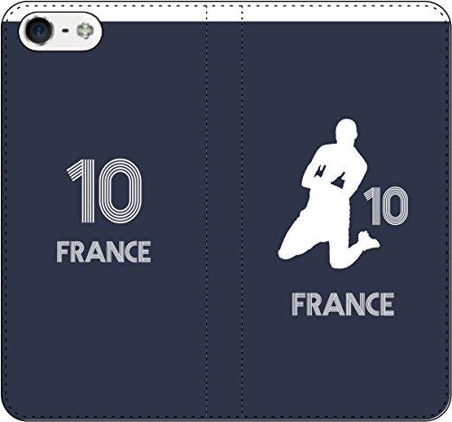 iPhone/Xperia/Galaxy/他機種選択可:サッカーシルエット手帳(ホーム/フランス_10番_D) iPhone7用