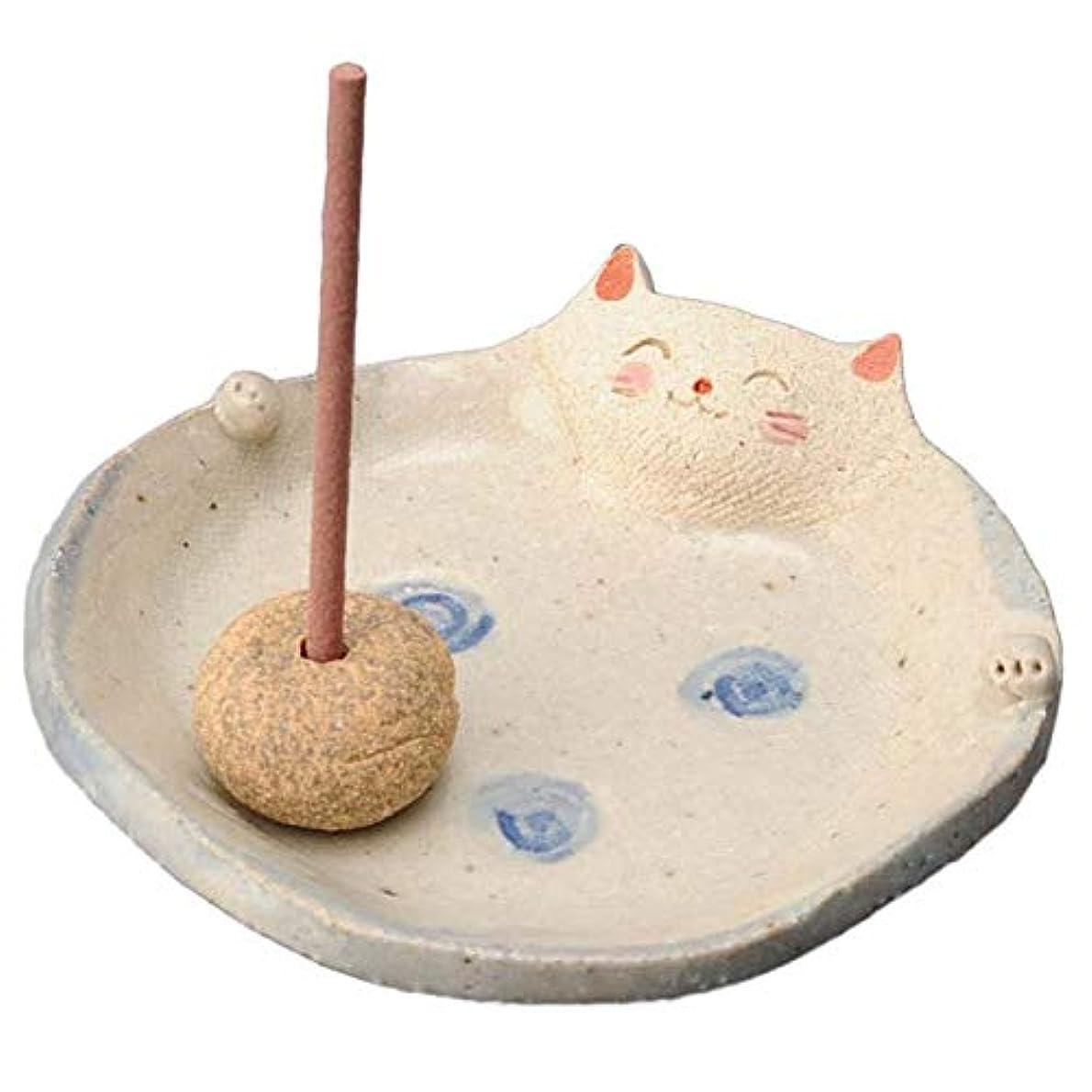 肥沃な笑シャー手造り 香皿 香立て/ふっくら 香皿(ネコ) /香り アロマ 癒やし リラックス インテリア プレゼント 贈り物