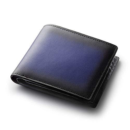 Semper&cote 財布 メンズ 二つ折り グラデーション×カーボン ブルー
