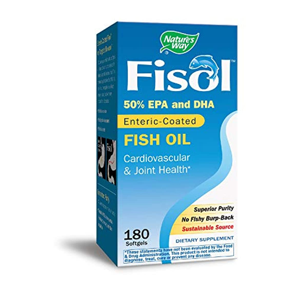 暗殺者合理的多年生海外直送品 Nature's Way Fisol Delayed-Release Fish Oil, 180 Softgels