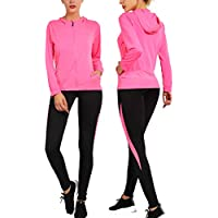 VICKISUI Activewear Sets for Women-Workout Clothes Gym Wear Tracksuits Yoga Jogging Outfit HoodieJacket Pant Legging 2PiecesSet - Multicolored - Small Fuchsia
