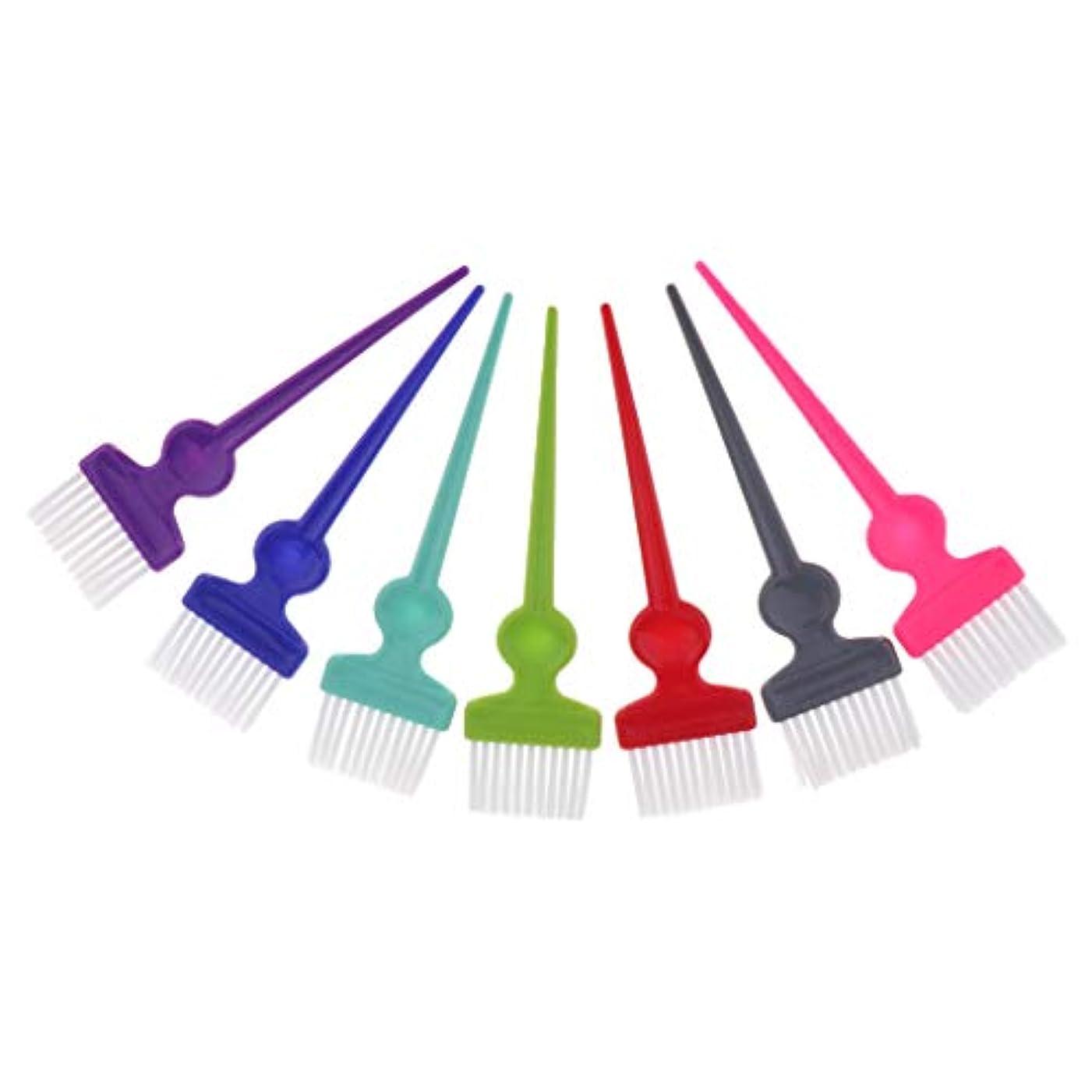ヘアダイブラシ ヘアカラーブラシ 染毛ブラシ サロン 理容 理髪 髪着色ツール カラフル 7本セット