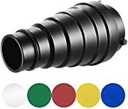 Neewer Medium Aluminium Alloy Conical Snoot Kit with Honeycomb Grid and 5 Pieces Color Gel Filters for Bowens