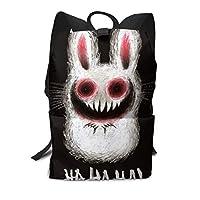 バックパックリュックサック大容量 ラップトップバッグ メンズ レディースカジュアルバッグ オシャレ 怖いウサギ プリント 旅行バッグ 男の子 女の子通学リュック 男女兼用バッグ