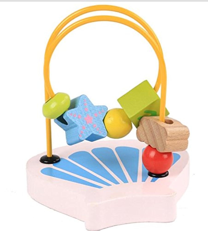 HuaQingPiJu-JP ラブリー木製アバカス円のおもちゃ教育のビーズ迷路子供のためのクリエイティブギフト(シェル)