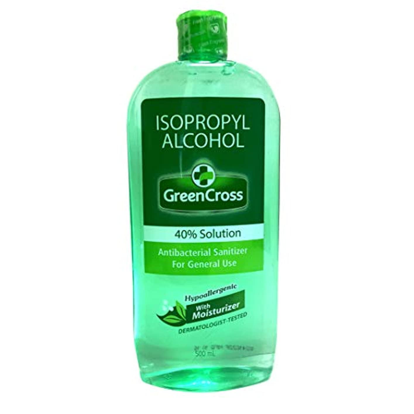 アレルギー性独裁者負GREEN CROSS with Moisturizer Rubbing  ALCOHOL 40% 500ml グリーンクロス ウィズ モイスチャー 手洗い用 アルコール