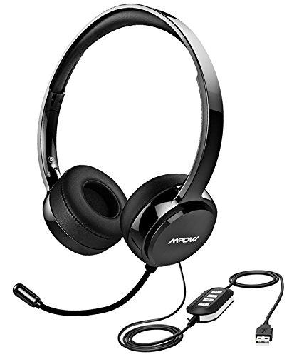 [해외]Mpow USB 헤드셋 | 마이크 3.5 MM 컴퓨터 헤드셋 노이즈 캔슬링 경량 PC 헤드셋 유선 헤드폰~ 비즈니스 헤드셋 for Skype~ 세미나~ 전화~ 콜센터/Mpow USB Headset | 3.5 MM Computer Headset with Microphone Noise Canceling~ Lightweight PC Head...